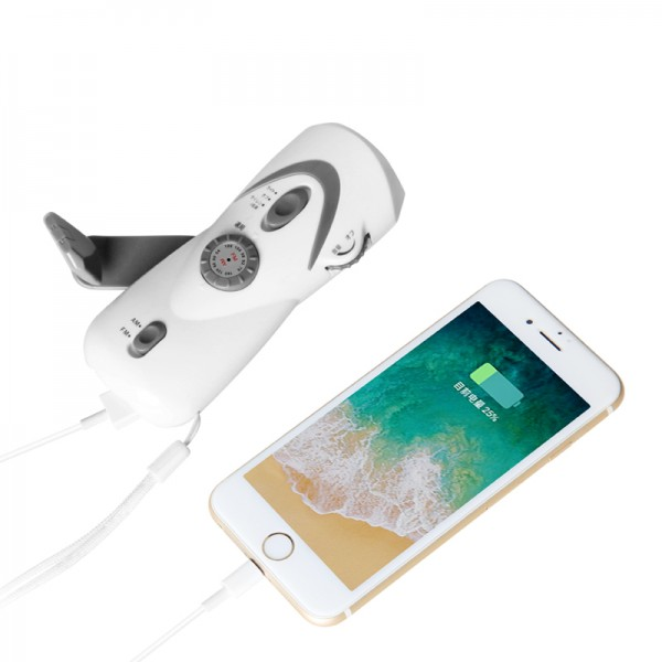 Dynamo Crank Hand Flashlight FM Radio high sensitive With USB Charging