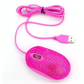 USB Optical Wired Mini Computer Mouse with Crystal Bling Rhinestone 7 Color Lights Mouse for Small Hands(Pink)