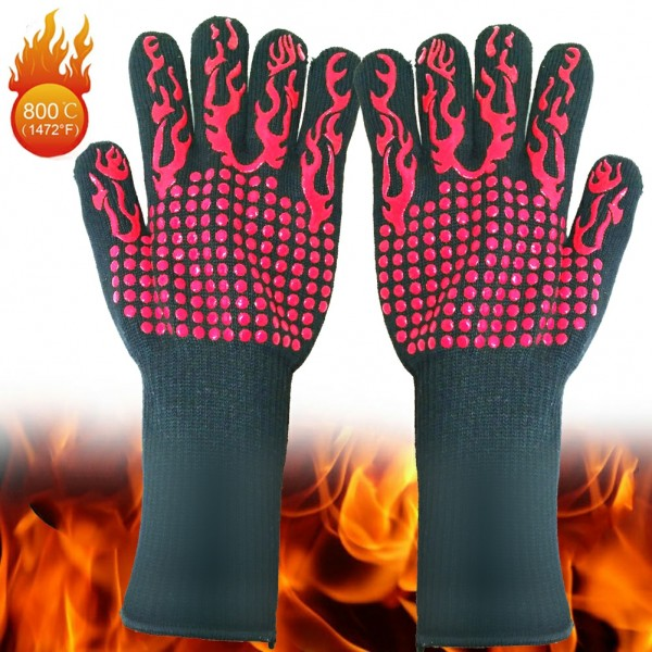 BBQ Grill Gloves, 1472°F Extreme Heat Resistant Gloves Non-Slip Insulated Oven Mitts Potholder Perfect for Barbecue Grilling Cooking Baking Kitchen Smokers 1 Pair