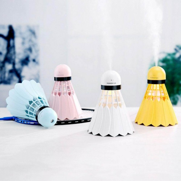 USB Portable Badminton Ultrasonic Air Humidifier with On/Off LED Night Lights, 240ml USB   Portable Mist Air Humidifier for Home, Car, Office, Bedroom, Baby Room, Outdoor