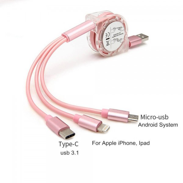 3 in 1 3ft Retractable Multiple Cable USB Data Cord with IOS/Micro USB/USB 3.1 Type C Universal Compatible iPhone iPad Samsung Android Cellphones