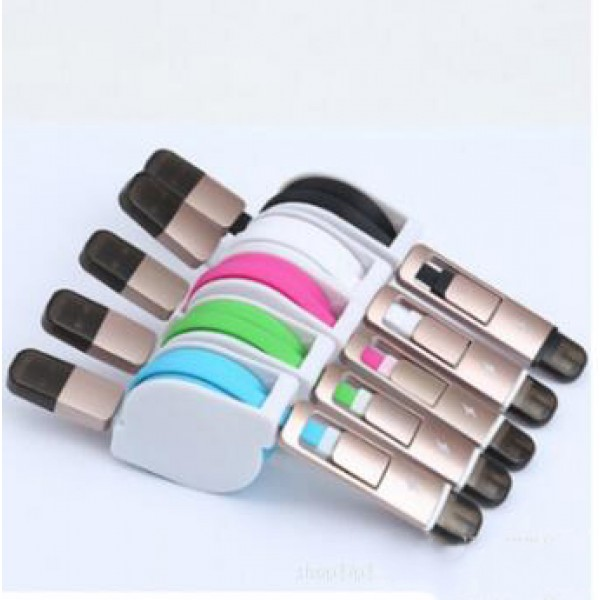 Retractable Flexible Universal Apple lightning Android micro USB 2 in 1 Retractable Data Charger Cable Cord for iPhone Android