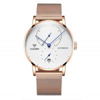 Automatic Men's Stainless Steel Wrist Watch with Calendar Multifunctional Strap Milanese Mesh