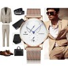 Automatic Mens Stainless Steel Wrist Watch with Calendar Multifunctional Strap Milanese Mesh