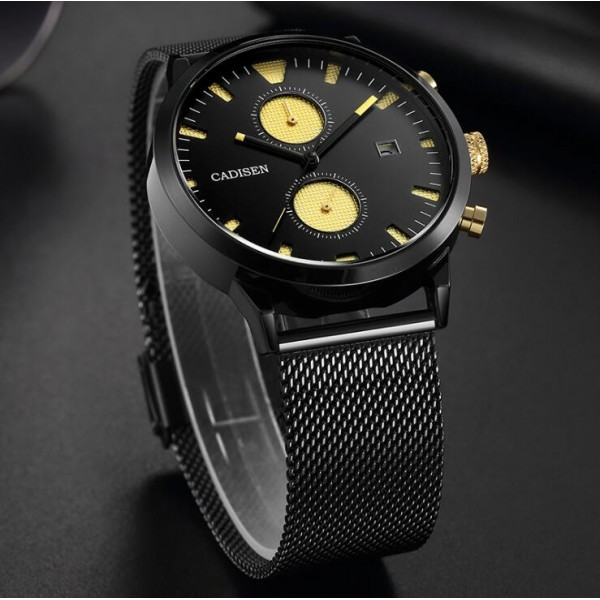 Mens High-end Full Steel Quartz Wristwatch with Functional Sub-dials