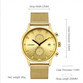 Men's High-end Full Steel Quartz Wristwatch with Functional Sub-dials