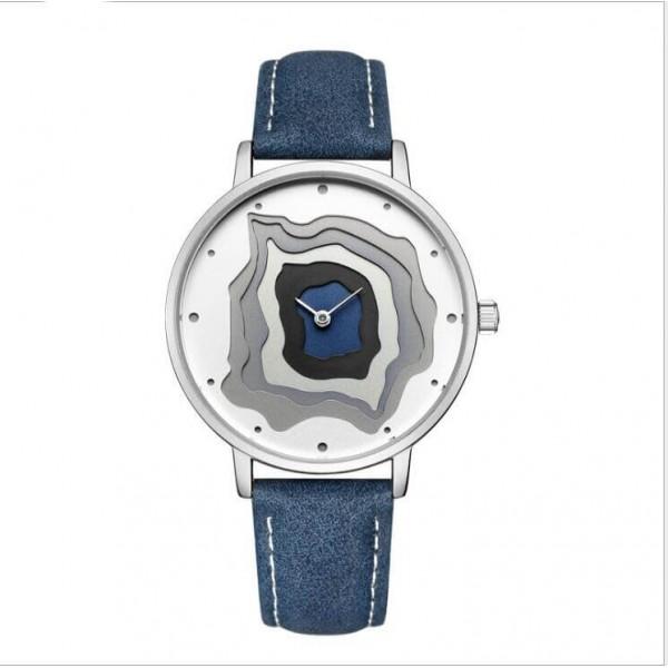New Arrival Volcanic Pattern Fashion Quartz Waterproof Geninue Leather Wristwatch