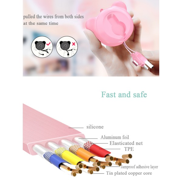 High quality charging multi-function silicone telescopic data line Fast Charging  Data cord line hidden retractable usb Cable for iOS Android/Type C