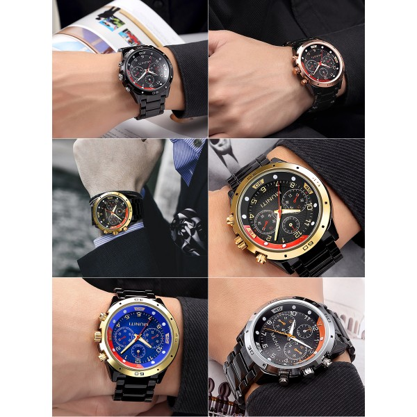 Mens personality sports quartz watch steel band waterproof wrist watch