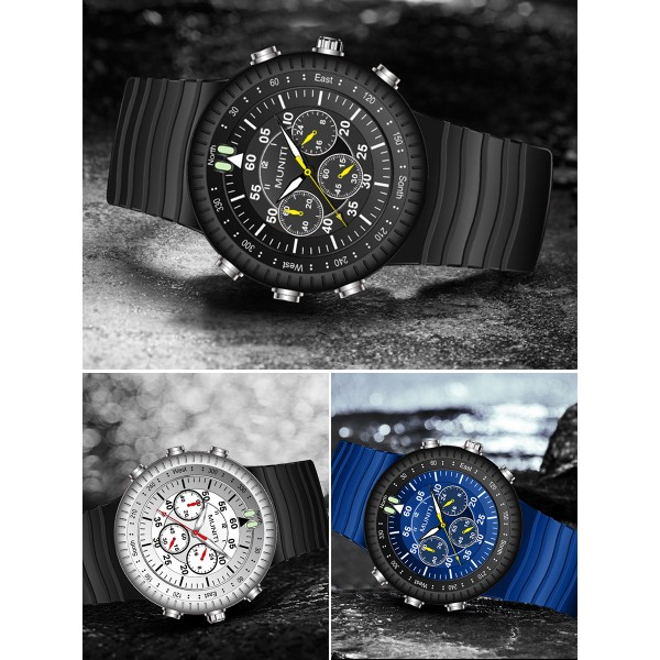 Mens Quartz Watch Rubber Band Leisure Luminous Waterproof Watch Accessory