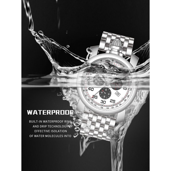 Mens Quartz Watch Sub-dials High Quality Waterproof Stylish Watch