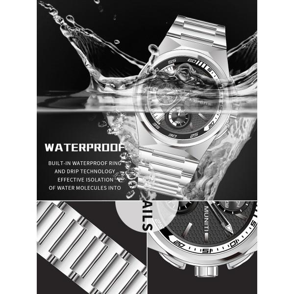 Mens Watch Fashion Business Casual Waterproof Steel Strap Quartz Wristwatch