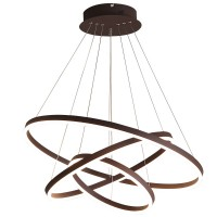 Modern LED Ring Chandeliers Acrylic Round Shape Pendant Light Fixture, Adjustable LED Ceiling Fixture with 1- 4 Ring, Round Shape Chandeliers for Bedroom, Living Room, Dining Room and Kitchen Island, with Non-pole Dimming Intelligent Control