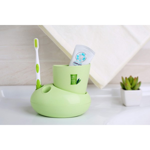 Bamboo Fiber Plastic Bathroom Accessory Set,  Bath Accessory Set With Stylish Lotion Bottle, Toothbrush Holder, Tumbler And Soap Dish