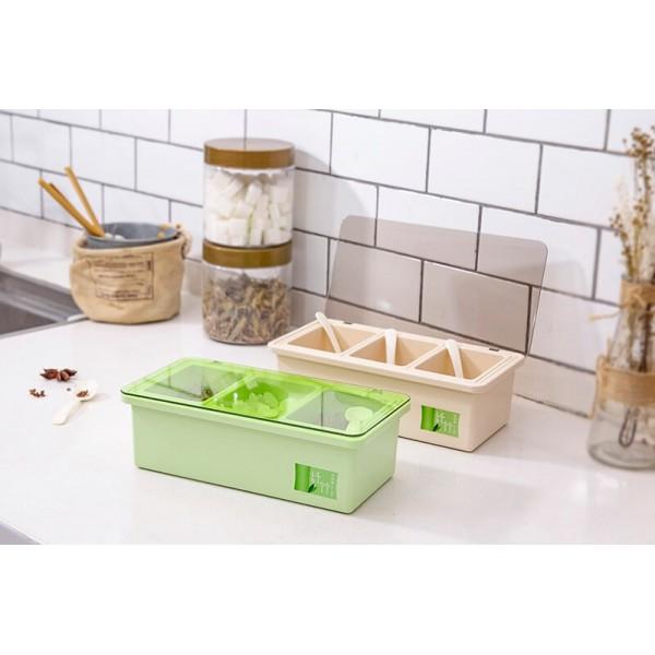 Bamboo Fiber Kitchen supplies Plastic Seasoning Box Set, Seasoning Set, Salt Sugar Spice Pepper Condiment Container Kitchen Cruet Seasonings Tools
