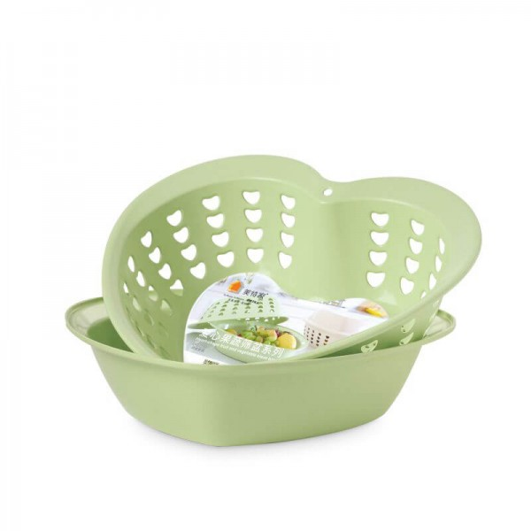 Bamboo Fiber Plastic 2-in-1 Multifunction Colander Strainer Double Drain Basket Wash Fruit Washing Artifact Dish Basket Sink Kitchen Modern Living Room Creative Household Fruit Plate