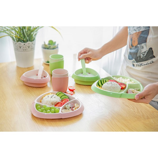 Bamboo Fiber Kids Tableware 4 piece Set Dinner Plate Cartoon Division Dish Children Plate Fork Spoon Cup Set