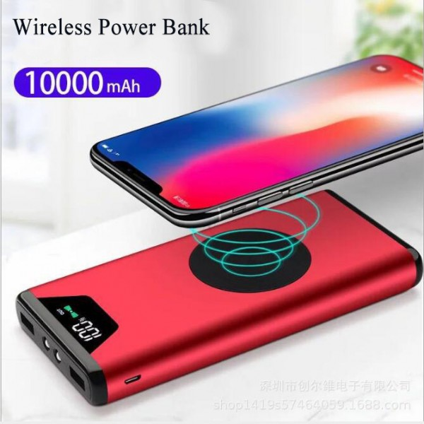 10000mAh Wireless Power Bank, Dual Smart USB Port 5V/2.1A External Mobile   Battery Charger Pack for iPhone, iPad, iPod, Samsung Galaxy, Cell Phones,   Tablets with Flashlight and LED Indicator