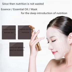 24k Golden Pulse Facial Massager,Energy Facial Roller Micro Vibrating Massager for Face Lifting Anti-Wrinkles