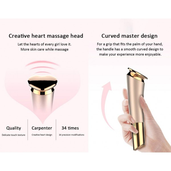Portable Heart-Shaped Facial Massager Vibration Face Beauty Device Rechargeable Cheeks Slimmer Skin Tightening Rose Gold