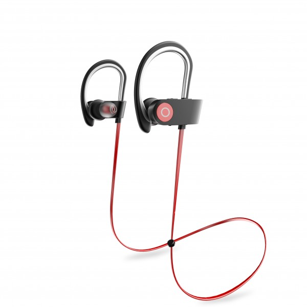 Portable Bluetooth Headphones, Wireless Earphones with Adjustable Earhooks for Extra Stability (IPX4 Waterproof & Sweat-Proof, AptX Lossless Sound, 8 Hours Playtime)
