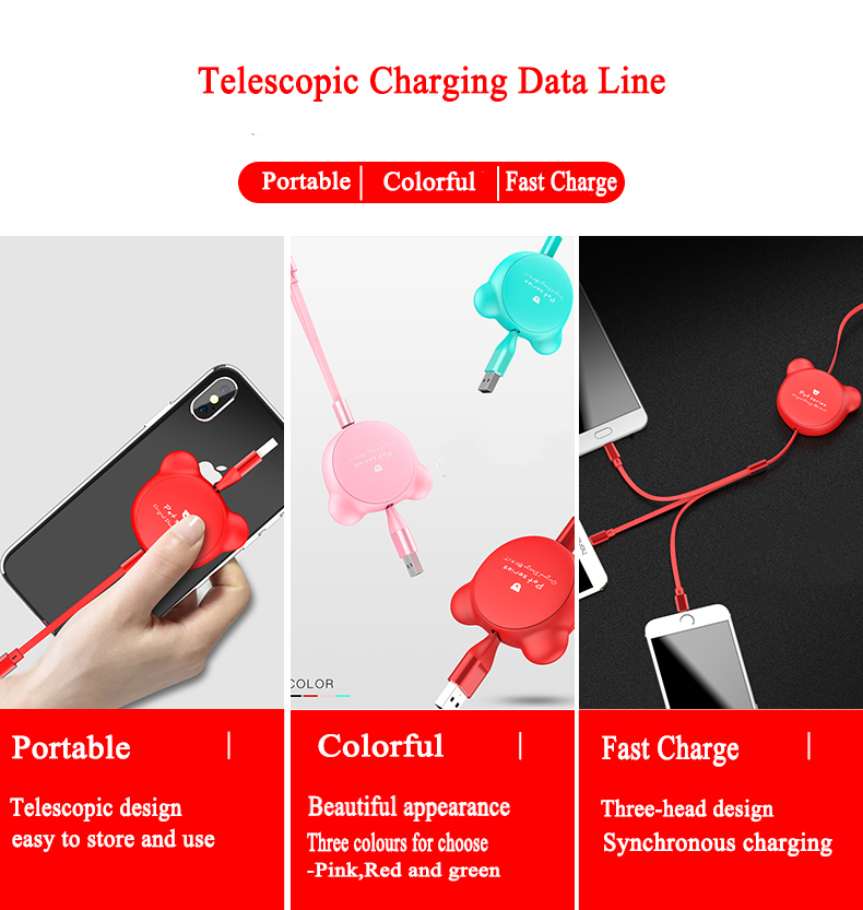 3 in 1 multi-function telescopic data line Fast Charging Data cord line hidden retractable usb Cable for iOS Android/Type C